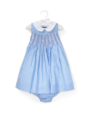 98146d4f1d1 Ralph Lauren Childrenswear Smocked Bengal Stripe Woven Dress w  Matching  Bloomers