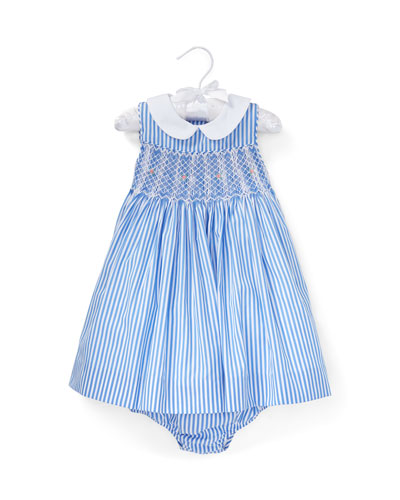 Smocked Bengal Stripe Woven Dress w/ Matching Bloomers, Size 6-24 Months