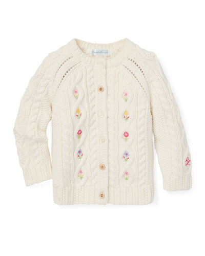 Cable Knit Floral Embroidered Button-Front Sweater, Size 6-24 Months