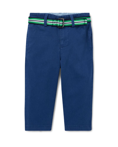 Twill Straight-Leg Pants w/ Striped Belt, Size 6-24 Months