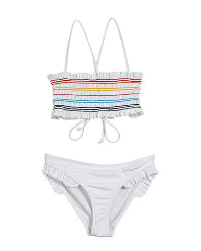 Multicolored Smocked Two-Piece Bandeau Swimsuit  Size 7-16
