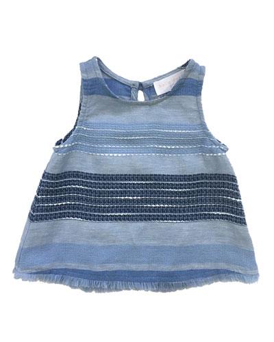 Frayed Hem Textured Stripe Tank Top  Size 8-14