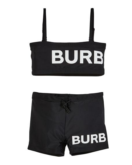 Burberry Betsy Logo Bandeau Swimsuit w/ Boy Short Bottoms, Size 10-14