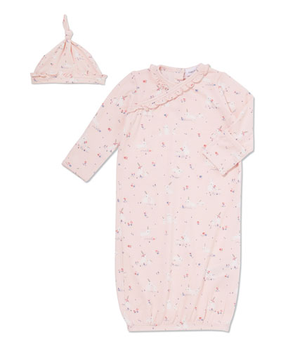 Bunnies Sleeping Gown w/ Matching Knotted Hat, Size 0-3 Months