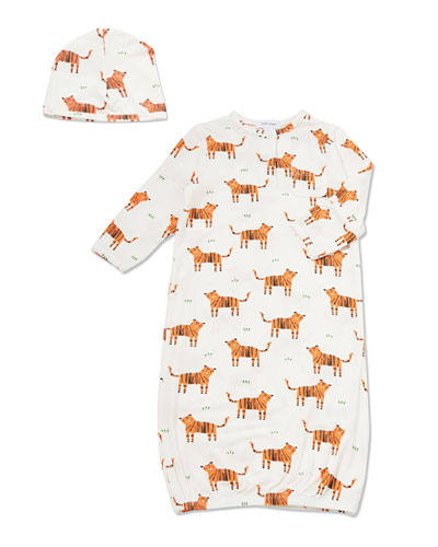 Cartoon Tiger Print Sleeping Gown w/ Matching Hat, Size 0-3 Months