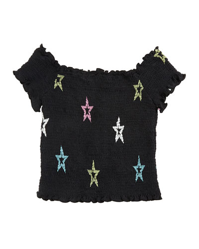 Pastel Star-Print Smocked Top  Size S-XL