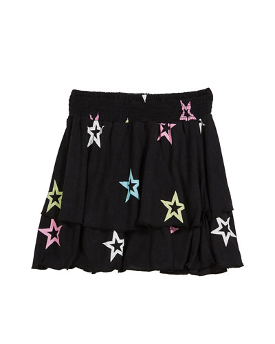 Pastel Star-Print Tiered Skirt  Size S-XL