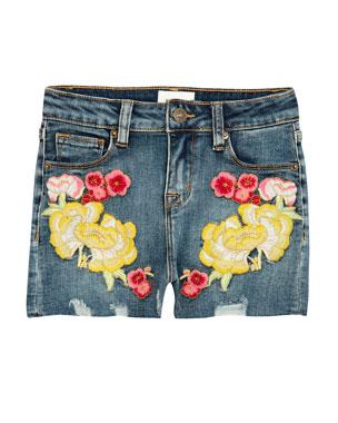 8e9b547726d Hudson Girls' Garden Embroidered Denim Shorts, ...