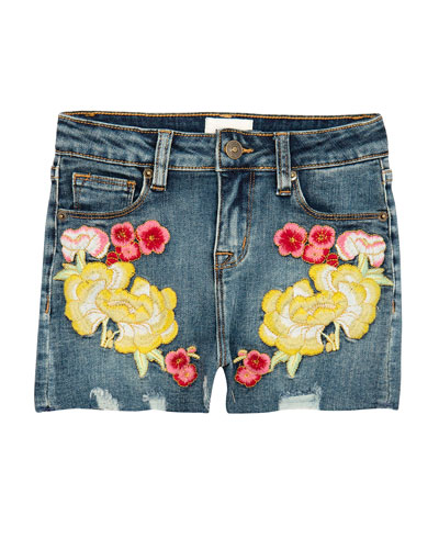 Girls' Garden Embroidered Denim Shorts  Size 7-16