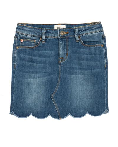 Girls' Lori Scalloped Hem Denim Skirt  Size 7-16