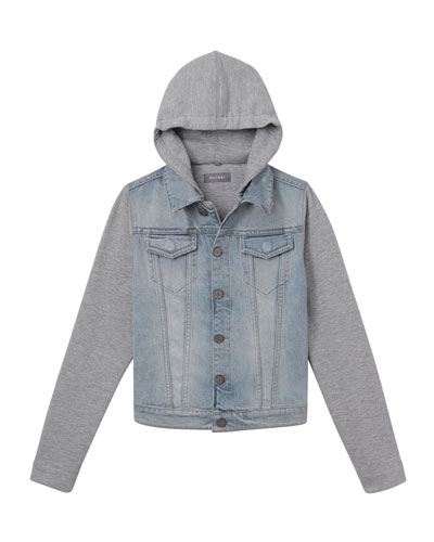 Manning Denim Jacket w/ Jersey Hood & Sleeves  Size S-L