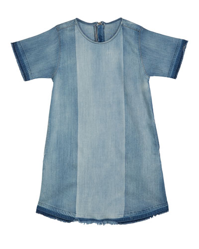 Kiki Mixed Denim Frayed Edges Dress  Size S-L