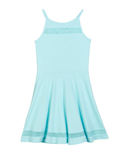 The Tiffany Techno Crepe Dress w/ Mesh Inset Trim, Size S-XL