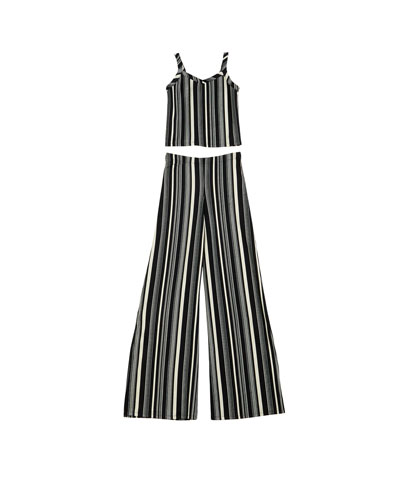 The Catte Stripe Crepe Crop Top w/ Matching Wide Leg Pants  Size S-XL