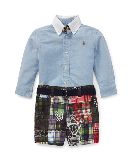 Ralph Lauren Childrenswear Chambray Top w/ Patchwork Shorts