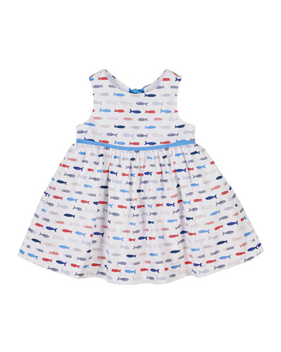 Fish Print Sleeveless Dress  Size 2-6