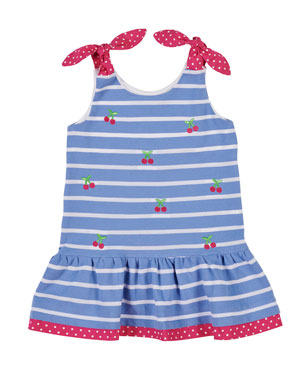 be27787b54 Florence Eiseman Cherry Embroidered Stripe Knit Pique Dress
