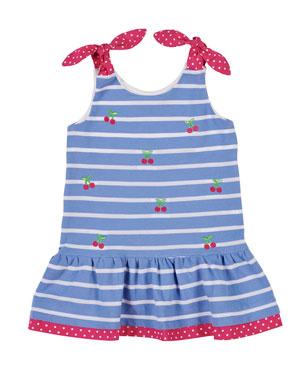 675f5edf04b Florence Eiseman Cherry Embroidered Stripe Knit Pique Dress