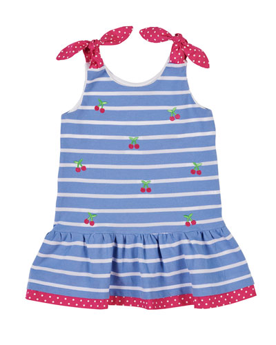 Cherry Embroidered Stripe Knit Pique Dress  Size 2-6