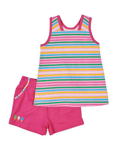 Multi-Stripe Tank Top w/ Matching Shorts, Size 2-6X