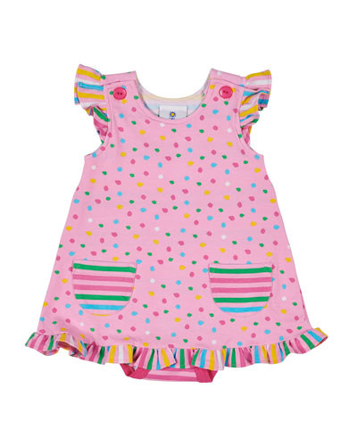 Multi Dot Dress w/ Attached Bodysuit  Size 3-12 Months