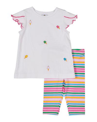 Ice Cream Cone Embroidered Top w/ Multi-Stripe Leggings, Size 2-4T