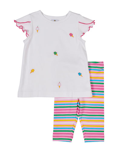 Ice Cream Cone Embroidered Top w/ Multi-Stripe Leggings  Size 12-24 Months