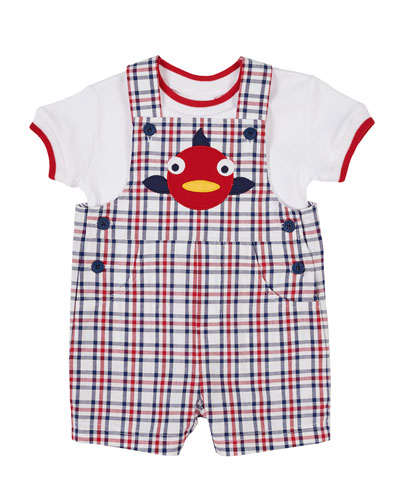 Fish Applique Plaid Overalls w/ Matching Tee  Size 6-24 Months