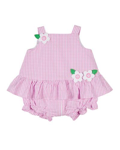Gingham Seersucker Ruffle Playsuit Dress  Size 3-18 Months