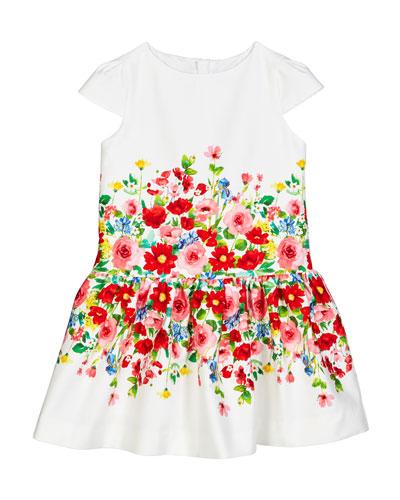 Cap-Sleeve Flower Printed Dress  Size 4-7