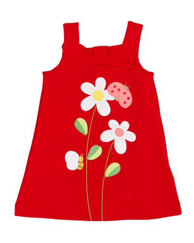 Sleeveless Sun Dress w/ Flower & Bug Appliques  Size 4-7