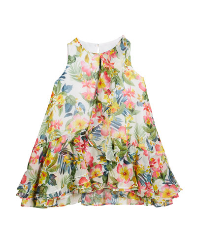 Jungle Floral Print Ruffle Dress  Size 4-7