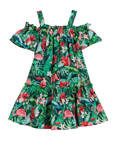 Flamingo Jungle Print Off-the-Shoulder Dress  Size 4-7