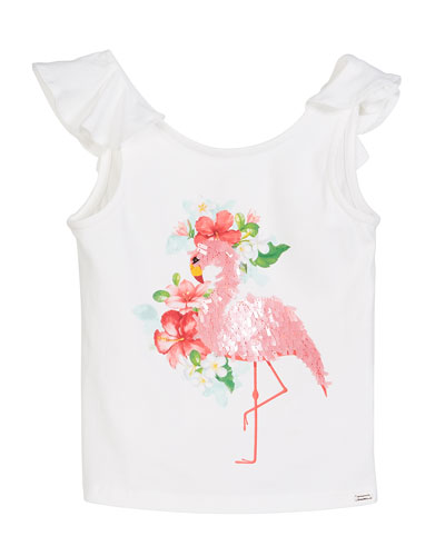 Sequin Flamingo T-Shirt  Size 4-7