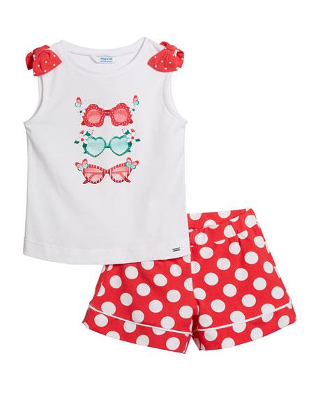 Mayoral Sunglasses Print Tank Top w/ Polka Dot Shorts, Size 4-7