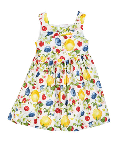 Apple-Print Sleeveless Dress  Size 4-7