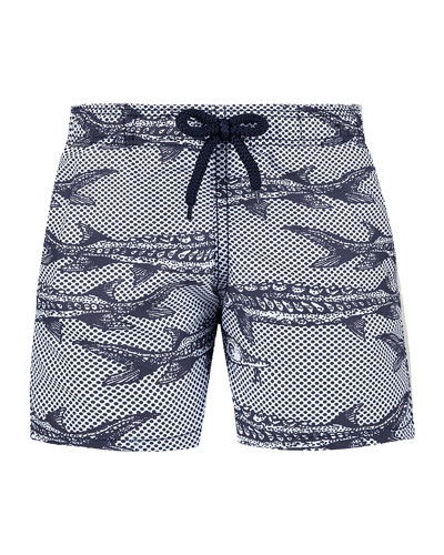 Jim Fish Print Swim Trunks  Size 2-14