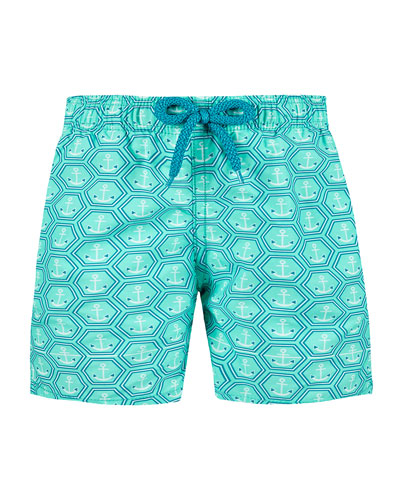 Jim Honeycomb Anchor Print Swim Trunks  Size 2-14