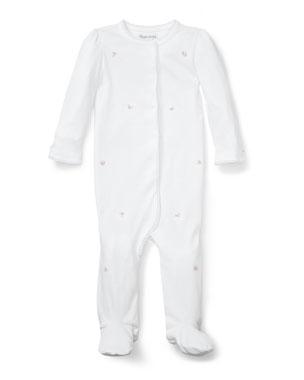 c5912613f Ralph Lauren Childrenswear Flower Embroidered Footie Pajamas, Size 3-9  Months