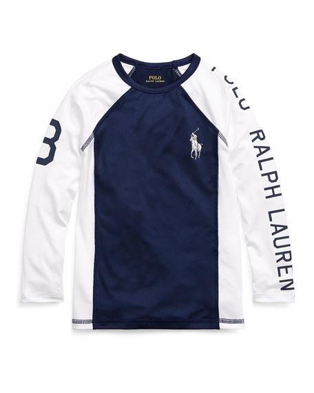 Ralph Lauren Childrenswear Two-Tone Logo Rash Guard, Size 5-7