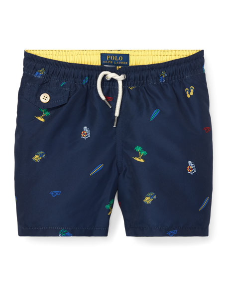 Ralph Lauren Childrenswear Beach Icon Printed Swim Trunks, Size 2-4