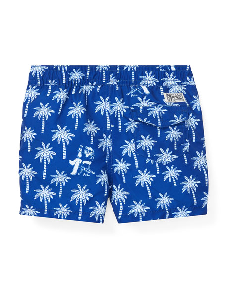 Ralph Lauren Childrenswear Palm Tree Printed Swim Trunks, Size 12-24 Months