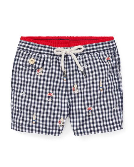 Ralph Lauren Childrenswear Beach Icon Embroidered Gingham Swim Trunks, Size 12-24 Months