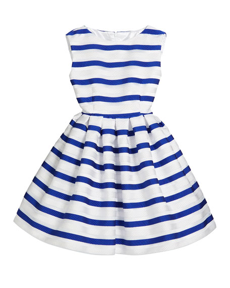 Helena Horizontal Stripe Organza Pleated Dress, Size 2-6