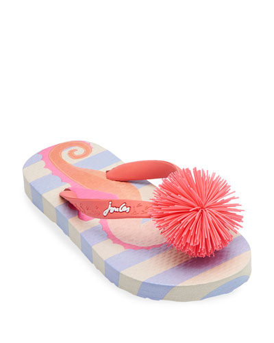 Striped Flip Flop Sandals w/ Rubber Pompom  Baby/Toddler