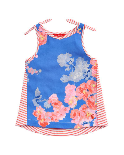 Iris Floral & Striped Tank Top  Size 3-10