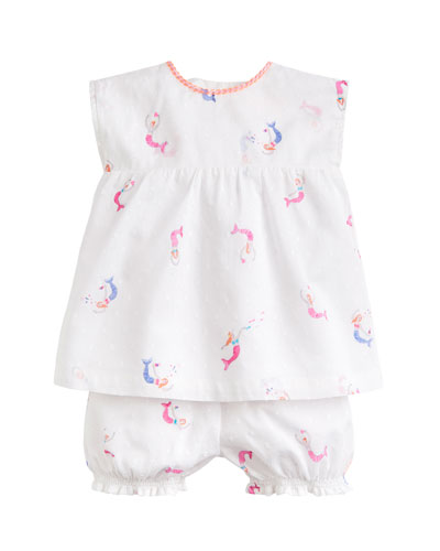 Edith Swiss Dot Mermaid Print Top w/ Matching Bloomers  Size 3-24 Months