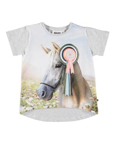 Risha Show Horse Print Short-Sleeve Tee  Size 3-12
