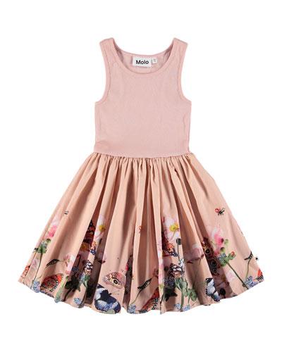 Cassandra Ribbed Dress w/ Butterfly-Print Skirt  Size 2T-12
