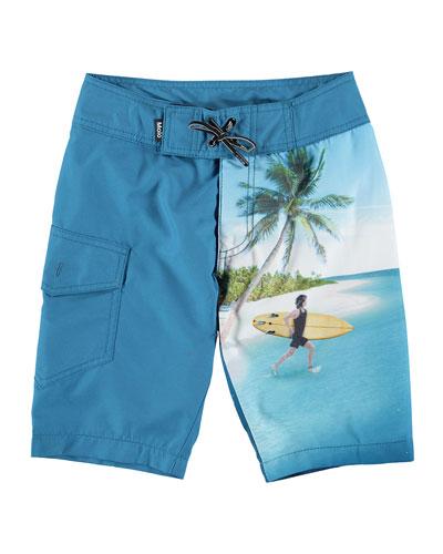 Nalvaro Contrast Surfer & Sea Creature Print Board Shorts  Size 2T-12